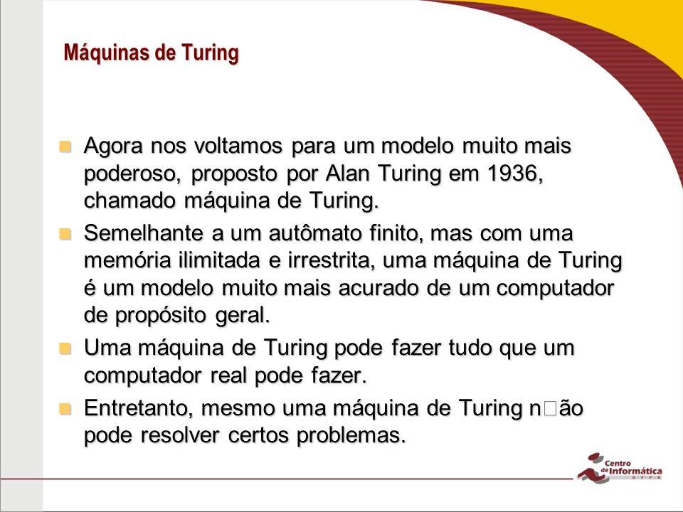 Máquinas de Turing Agora nos voltamos para um modelo muito mais poderoso, proposto por Alan Turing em 1936, chamado máquina de Turing. Agora nos volta