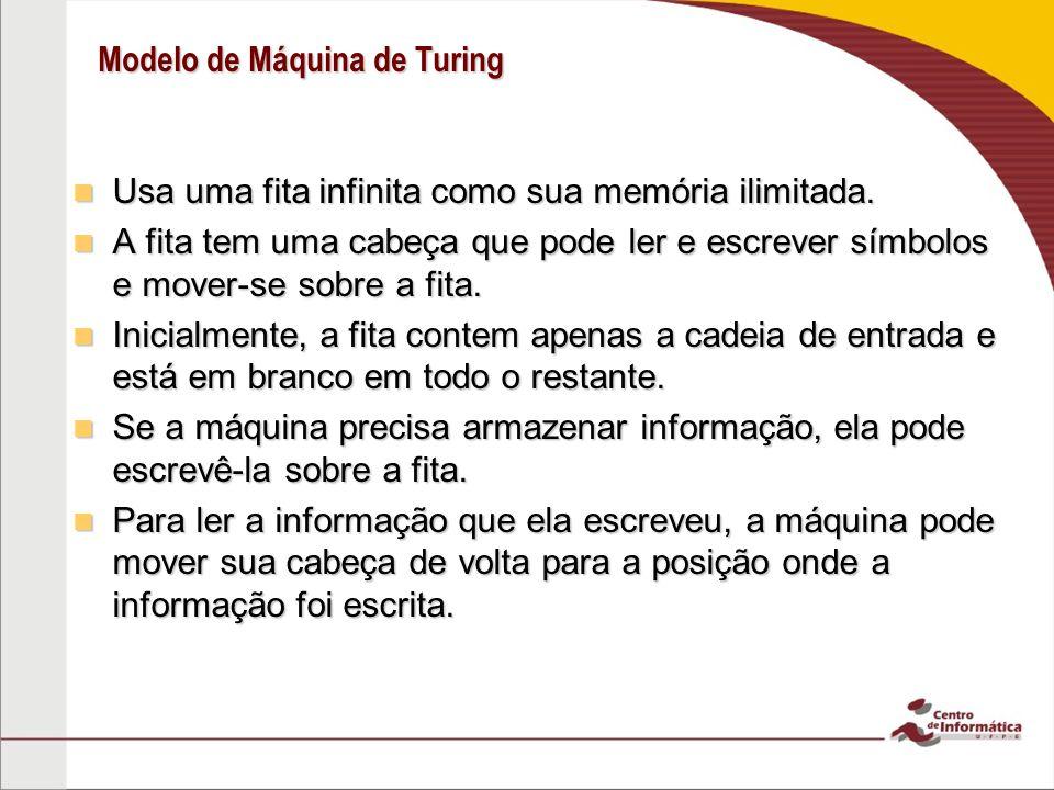 Modelo de Máquina de Turing Usa uma fita infinita como sua memória ilimitada. Usa uma fita infinita como sua memória ilimitada. A fita tem uma cabeça