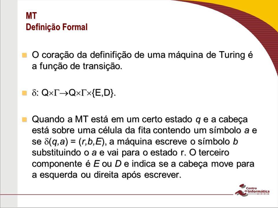 MT Definição Formal O coração da definifição de uma máquina de Turing é a função de transição. O coração da definifição de uma máquina de Turing é a f