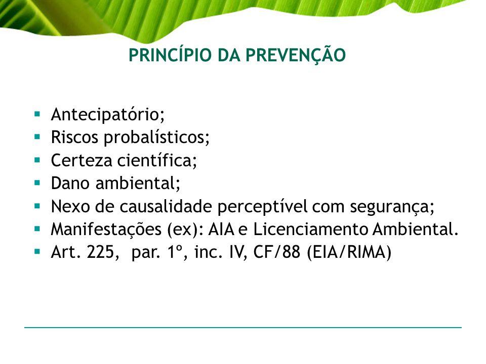 PRINCÍPIO DA PREVENÇÃO Antecipatório; Riscos probalísticos; Certeza científica; Dano ambiental; Nexo de causalidade perceptível com segurança; Manifes
