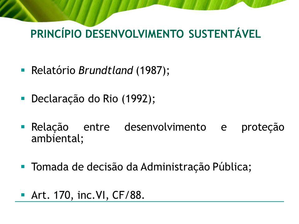 PRINCÍPIO DESENVOLVIMENTO SUSTENTÁVEL Relatório Brundtland (1987); Declaração do Rio (1992); Relação entre desenvolvimento e proteção ambiental; Tomad