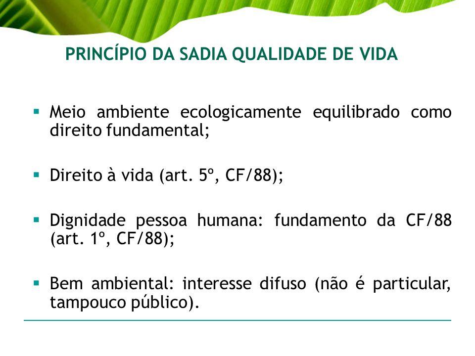 PRINCÍPIO DA SADIA QUALIDADE DE VIDA Meio ambiente ecologicamente equilibrado como direito fundamental; Direito à vida (art. 5º, CF/88); Dignidade pes
