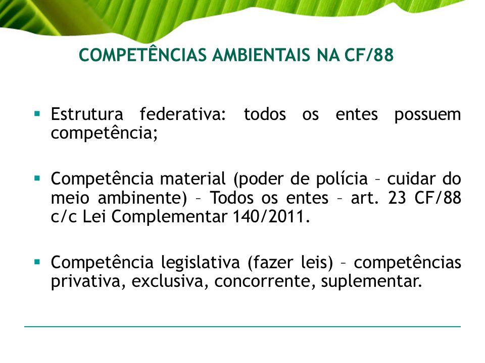 COMPETÊNCIAS AMBIENTAIS NA CF/88 Estrutura federativa: todos os entes possuem competência; Competência material (poder de polícia – cuidar do meio amb