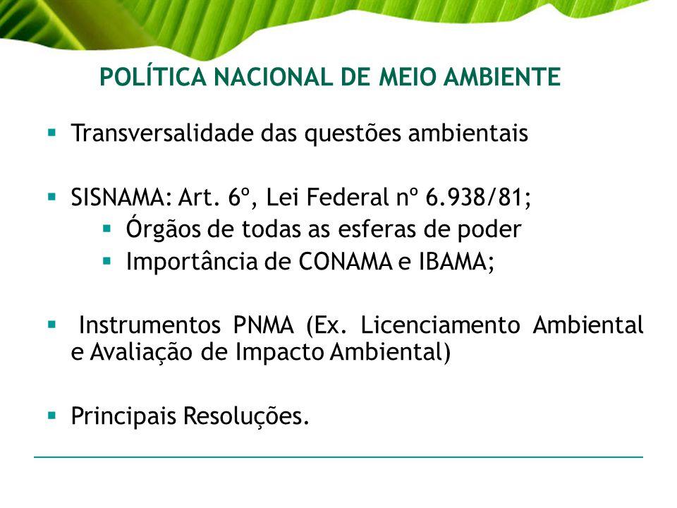 POLÍTICA NACIONAL DE MEIO AMBIENTE Transversalidade das questões ambientais SISNAMA: Art. 6º, Lei Federal nº 6.938/81; Órgãos de todas as esferas de p