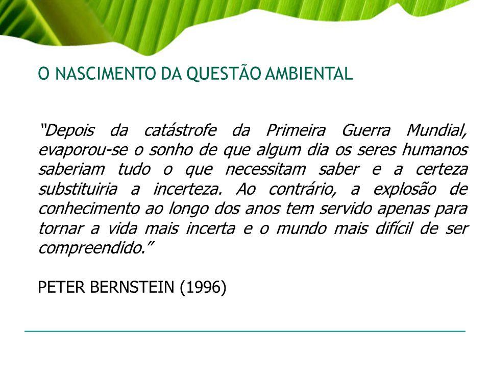 A QUESTÃO AMBIENTAL QUESTÃO AMBIENTAL = PROBLEMAS (Anos 60/70 Sec.