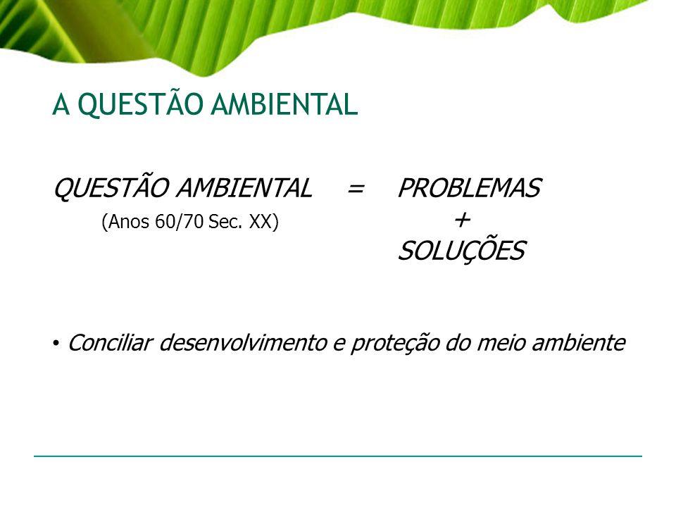A QUESTÃO AMBIENTAL QUESTÃO AMBIENTAL = PROBLEMAS (Anos 60/70 Sec. XX) + SOLUÇÕES Conciliar desenvolvimento e proteção do meio ambiente