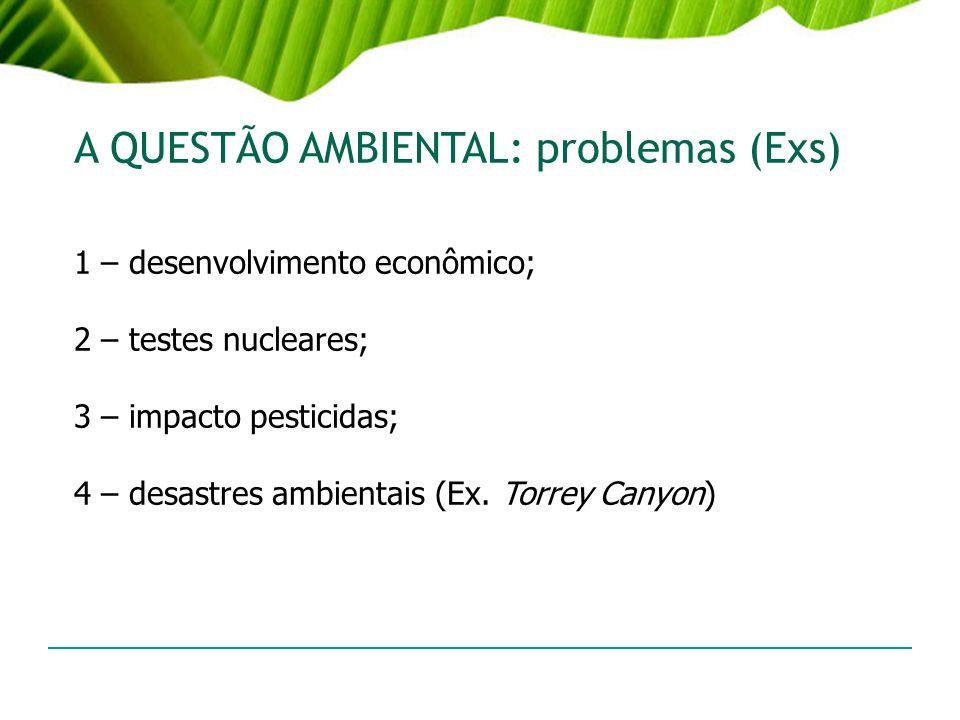A QUESTÃO AMBIENTAL: problemas (Exs) 1 – desenvolvimento econômico; 2 – testes nucleares; 3 – impacto pesticidas; 4 – desastres ambientais (Ex. Torrey