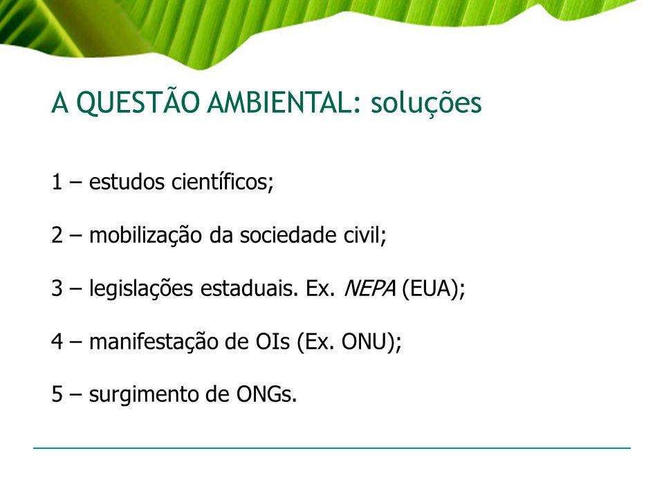 A QUESTÃO AMBIENTAL: soluções 1 – estudos científicos; 2 – mobilização da sociedade civil; 3 – legislações estaduais. Ex. NEPA (EUA); 4 – manifestação