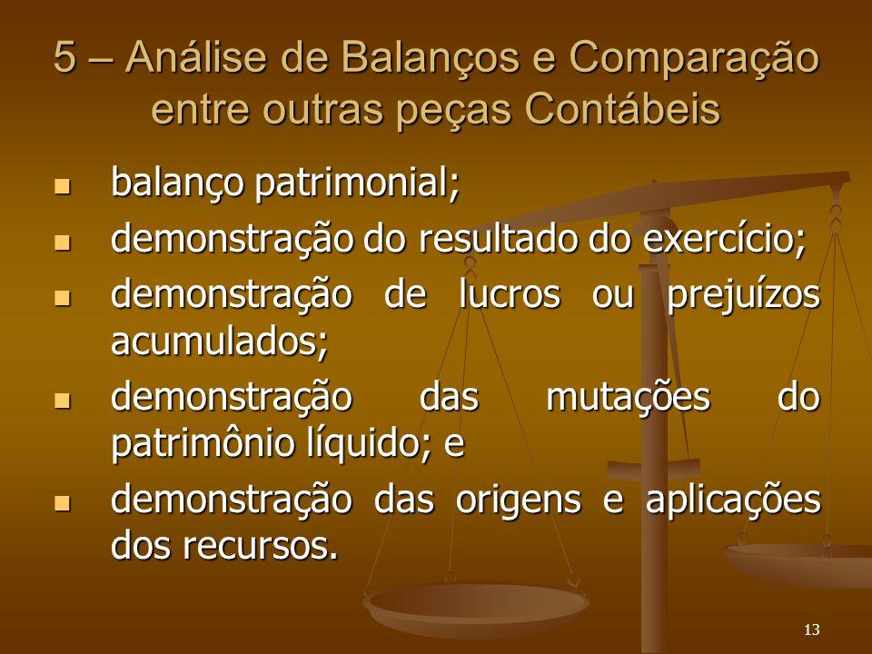 13 5 – Análise de Balanços e Comparação entre outras peças Contábeis balanço patrimonial; balanço patrimonial; demonstração do resultado do exercício;