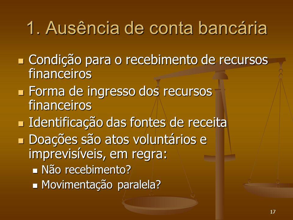 17 1. Ausência de conta bancária Condição para o recebimento de recursos financeiros Condição para o recebimento de recursos financeiros Forma de ingr