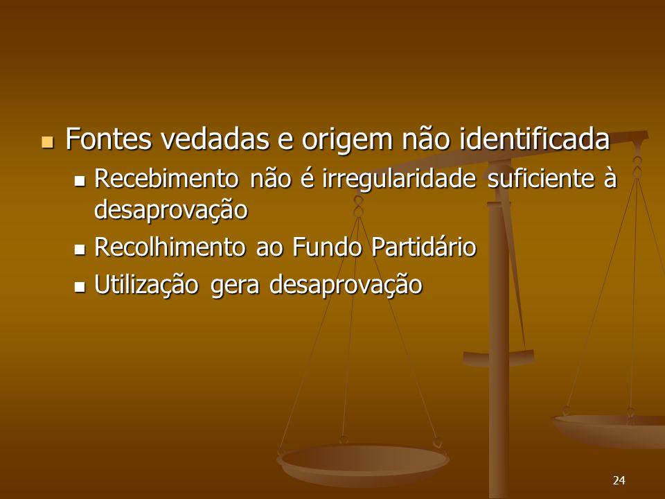 24 Fontes vedadas e origem não identificada Fontes vedadas e origem não identificada Recebimento não é irregularidade suficiente à desaprovação Recebi