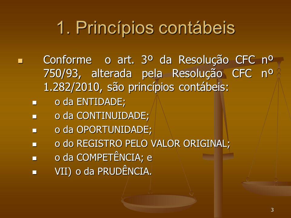 3 1. Princípios contábeis Conforme o art. 3º da Resolução CFC nº 750/93, alterada pela Resolução CFC nº 1.282/2010, são princípios contábeis: Conforme