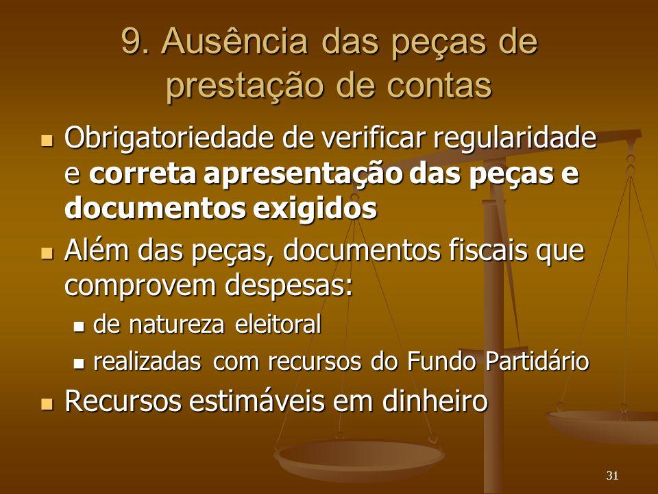 31 9. Ausência das peças de prestação de contas Obrigatoriedade de verificar regularidade e correta apresentação das peças e documentos exigidos Obrig