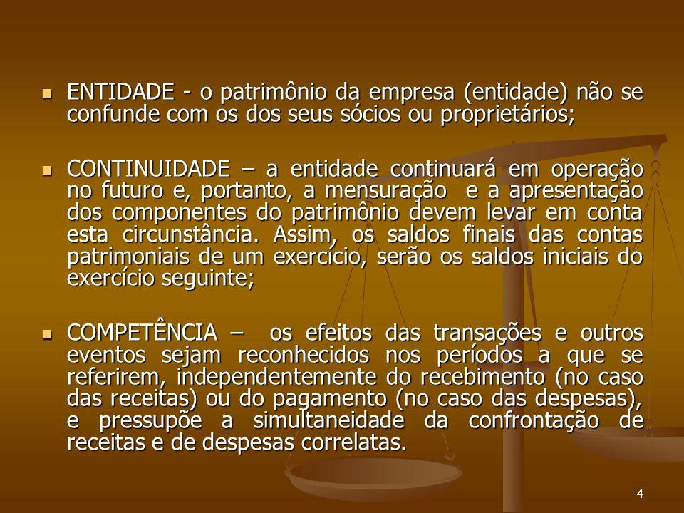 4 ENTIDADE - o patrimônio da empresa (entidade) não se confunde com os dos seus sócios ou proprietários; ENTIDADE - o patrimônio da empresa (entidade)
