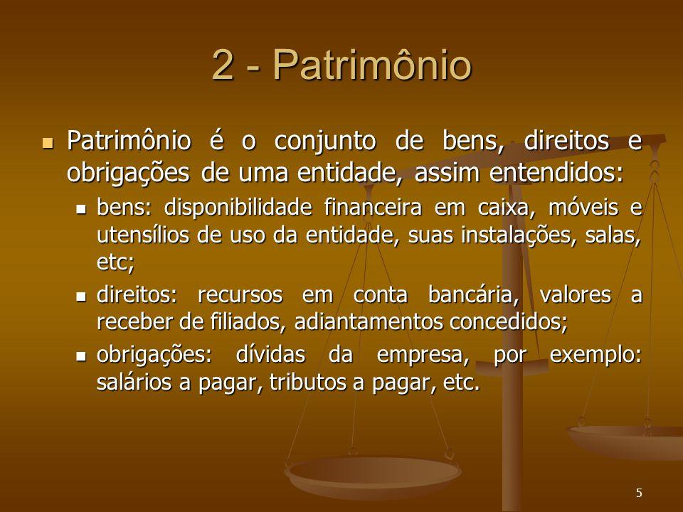 5 2 - Patrimônio Patrimônio é o conjunto de bens, direitos e obrigações de uma entidade, assim entendidos: Patrimônio é o conjunto de bens, direitos e