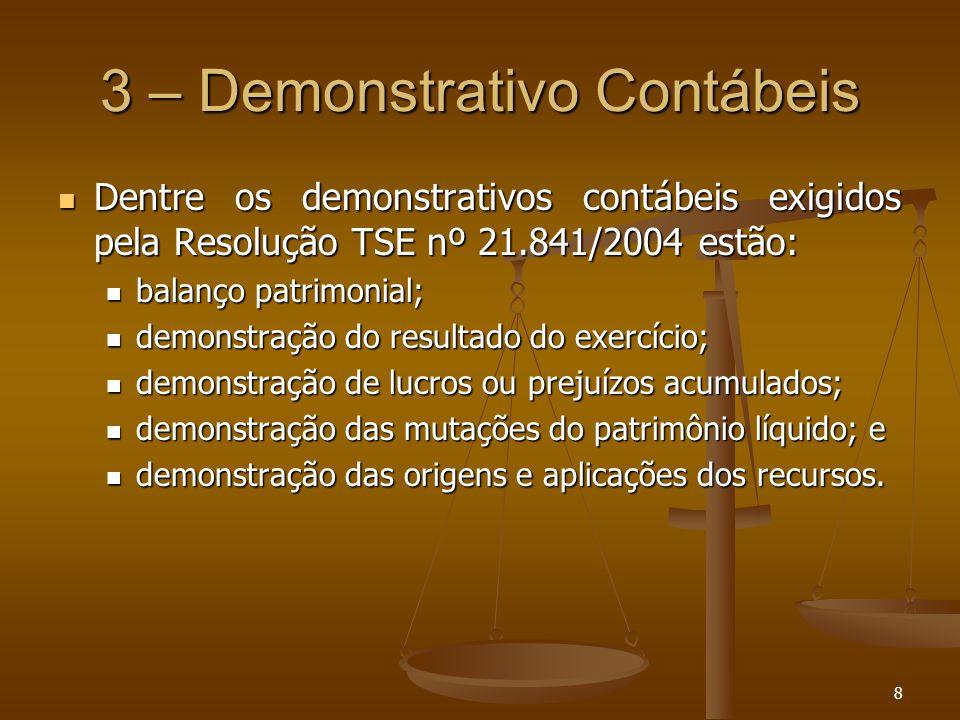 8 3 – Demonstrativo Contábeis Dentre os demonstrativos contábeis exigidos pela Resolução TSE nº 21.841/2004 estão: Dentre os demonstrativos contábeis
