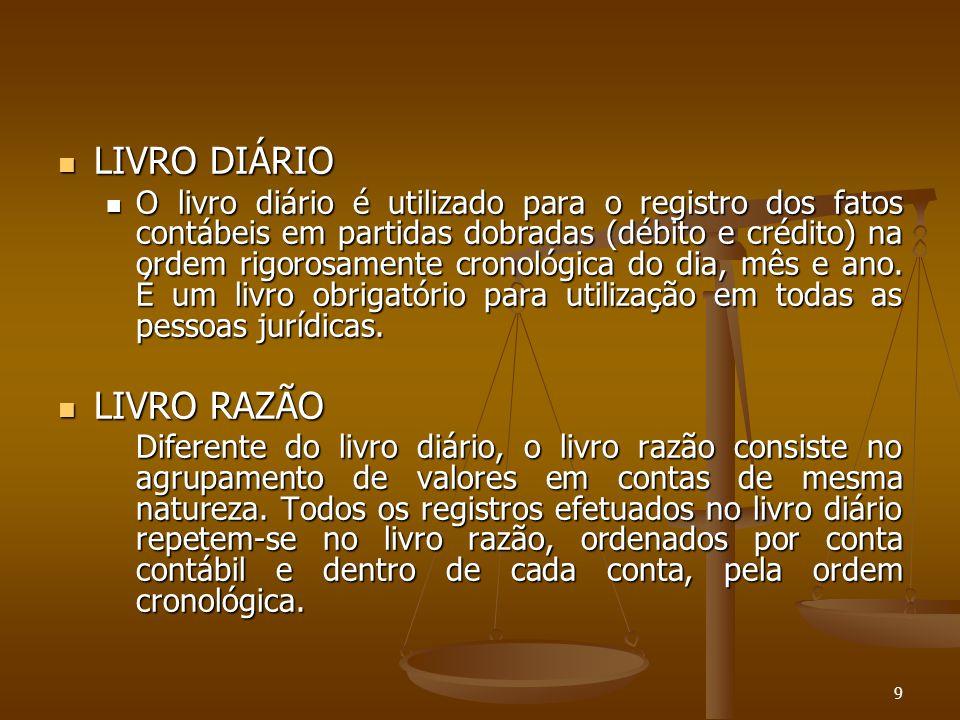 9 LIVRO DIÁRIO LIVRO DIÁRIO O livro diário é utilizado para o registro dos fatos contábeis em partidas dobradas (débito e crédito) na ordem rigorosame