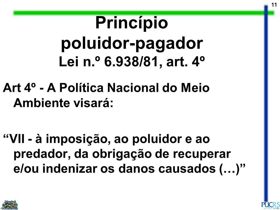 11 Princípio poluidor-pagador Lei n.º 6.938/81, art. 4º Art 4º - A Política Nacional do Meio Ambiente visará: VII - à imposição, ao poluidor e ao pred