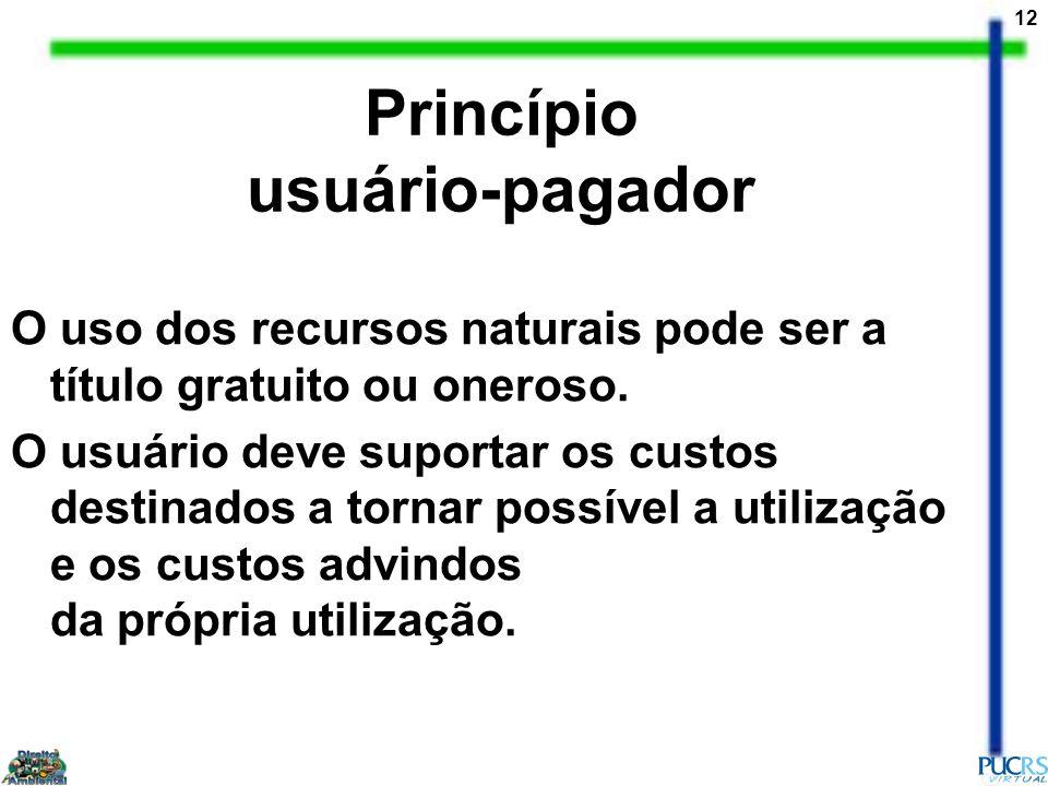 12 Princípio usuário-pagador O uso dos recursos naturais pode ser a título gratuito ou oneroso. O usuário deve suportar os custos destinados a tornar