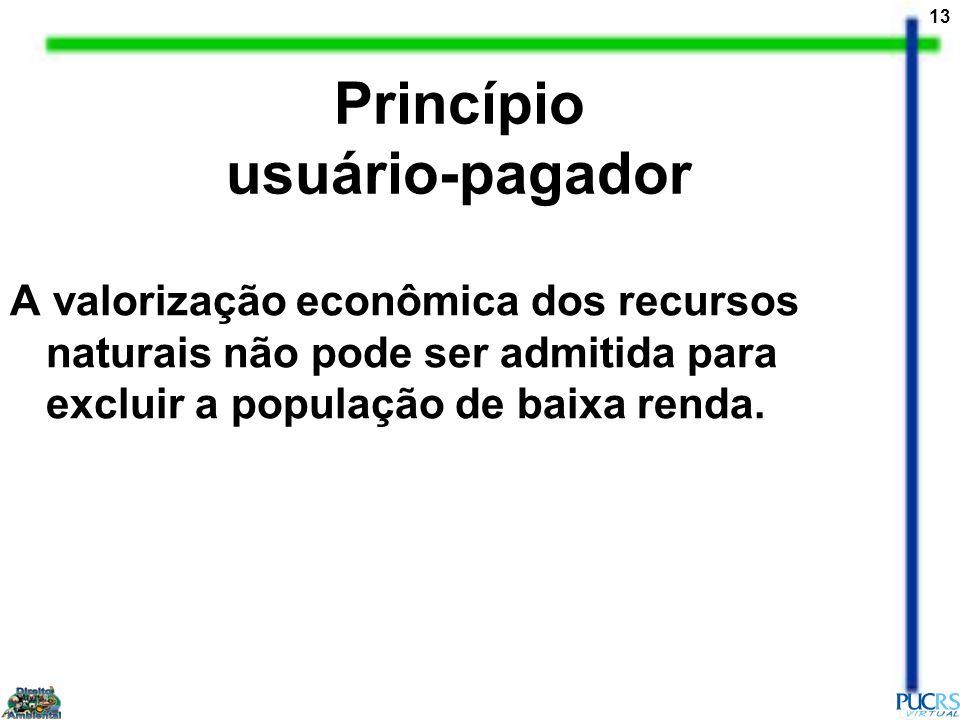13 Princípio usuário-pagador A valorização econômica dos recursos naturais não pode ser admitida para excluir a população de baixa renda.