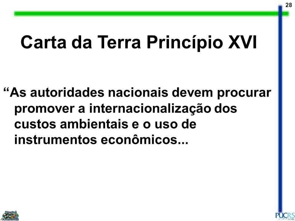 28 As autoridades nacionais devem procurar promover a internacionalização dos custos ambientais e o uso de instrumentos econômicos... Carta da Terra P