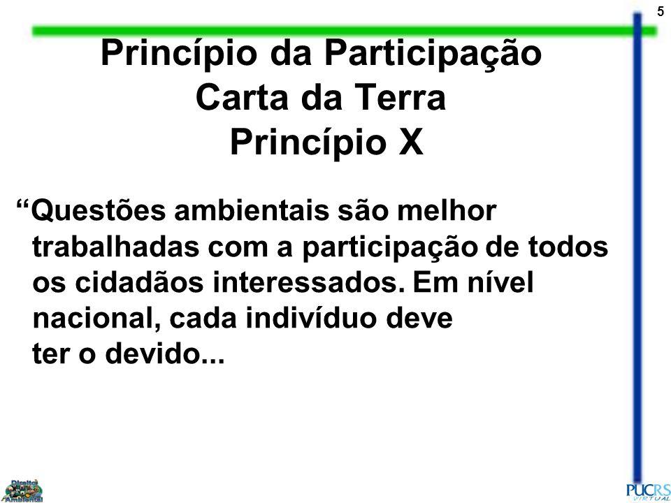 5 Princípio da Participação Carta da Terra Princípio X Questões ambientais são melhor trabalhadas com a participação de todos os cidadãos interessados
