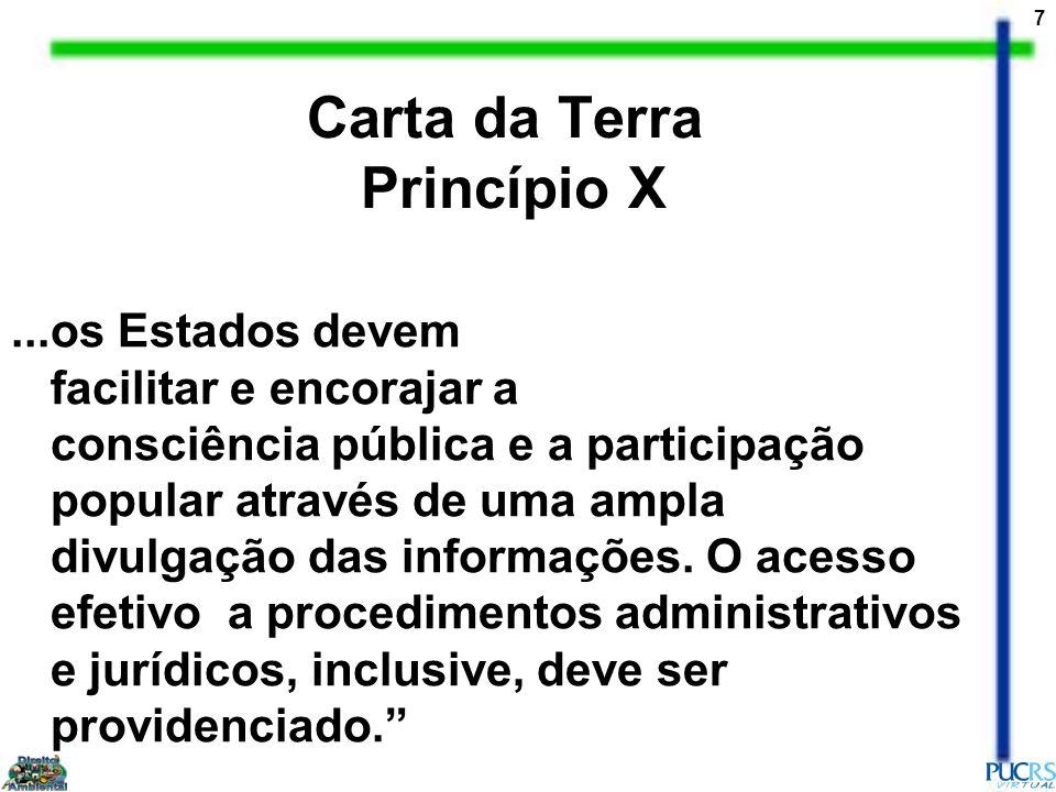 7 Carta da Terra Princípio X...os Estados devem facilitar e encorajar a consciência pública e a participação popular através de uma ampla divulgação d
