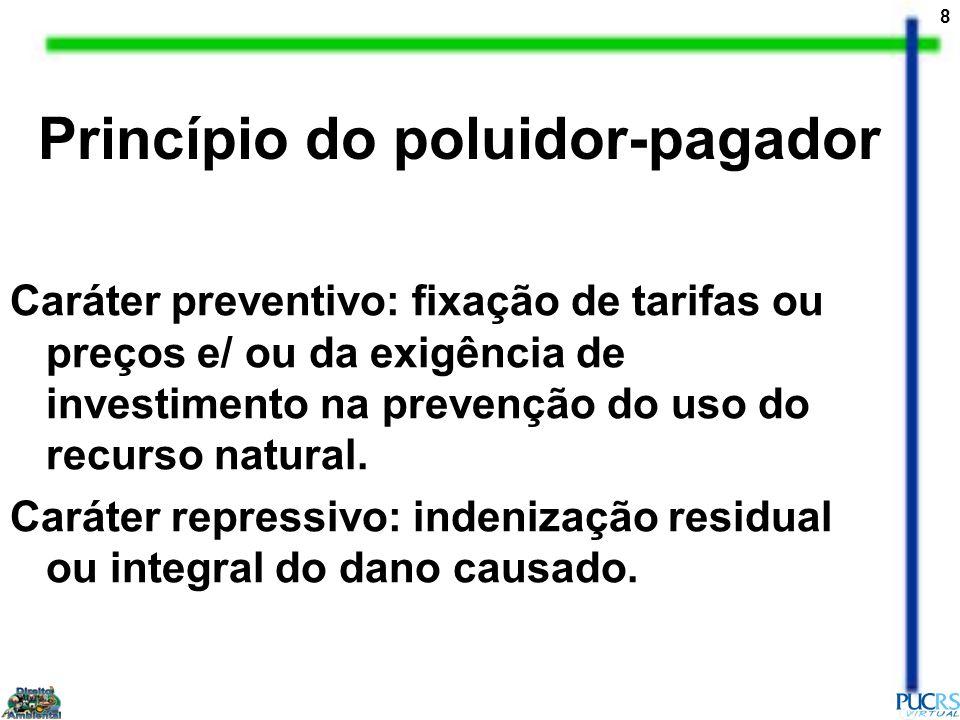 8 Princípio do poluidor-pagador Caráter preventivo: fixação de tarifas ou preços e/ ou da exigência de investimento na prevenção do uso do recurso nat