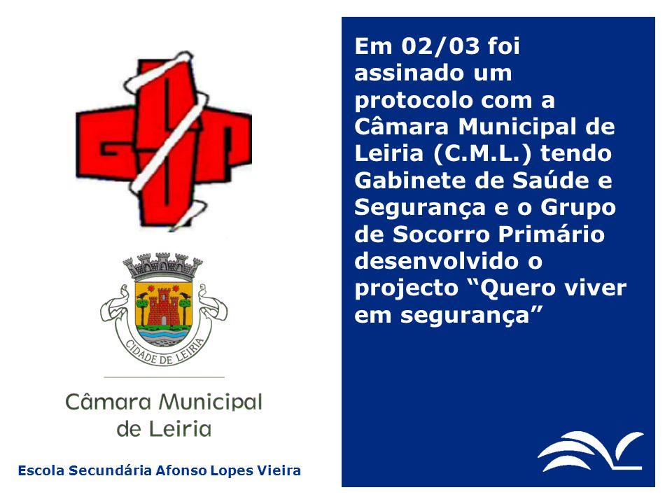 Escola Secundária Afonso Lopes Vieira Em 02/03 foi assinado um protocolo com a Câmara Municipal de Leiria (C.M.L.) tendo Gabinete de Saúde e Segurança