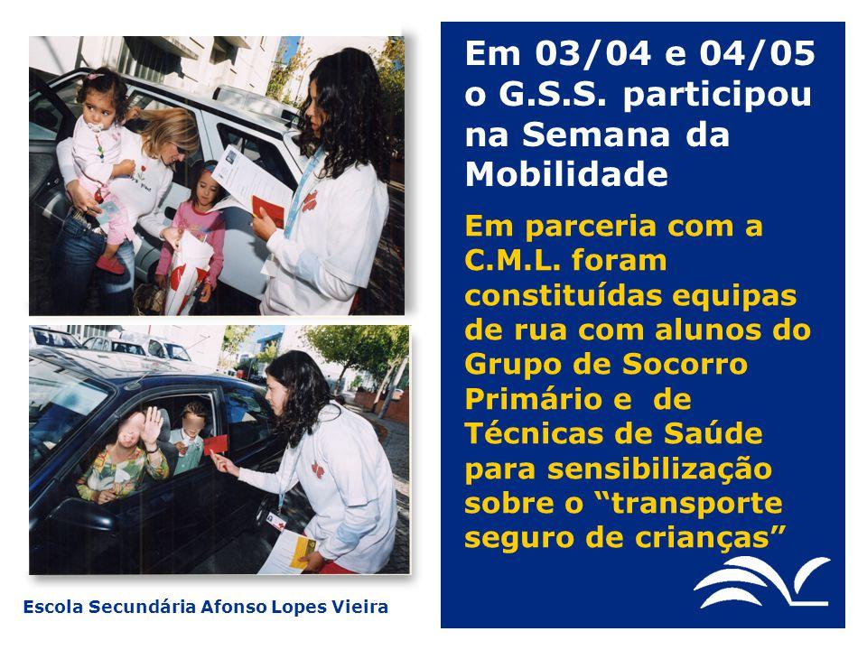 Escola Secundária Afonso Lopes Vieira Em 03/04 e 04/05 o G.S.S. participou na Semana da Mobilidade Em parceria com a C.M.L. foram constituídas equipas