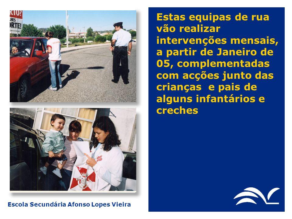 Escola Secundária Afonso Lopes Vieira Estas equipas de rua vão realizar intervenções mensais, a partir de Janeiro de 05, complementadas com acções jun