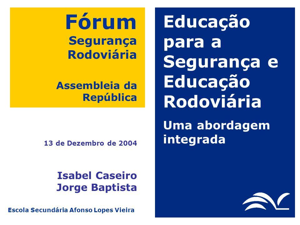 Escola Secundária Afonso Lopes Vieira Fórum Segurança Rodoviária Assembleia da República 13 de Dezembro de 2004 Educação para a Segurança e Educação R