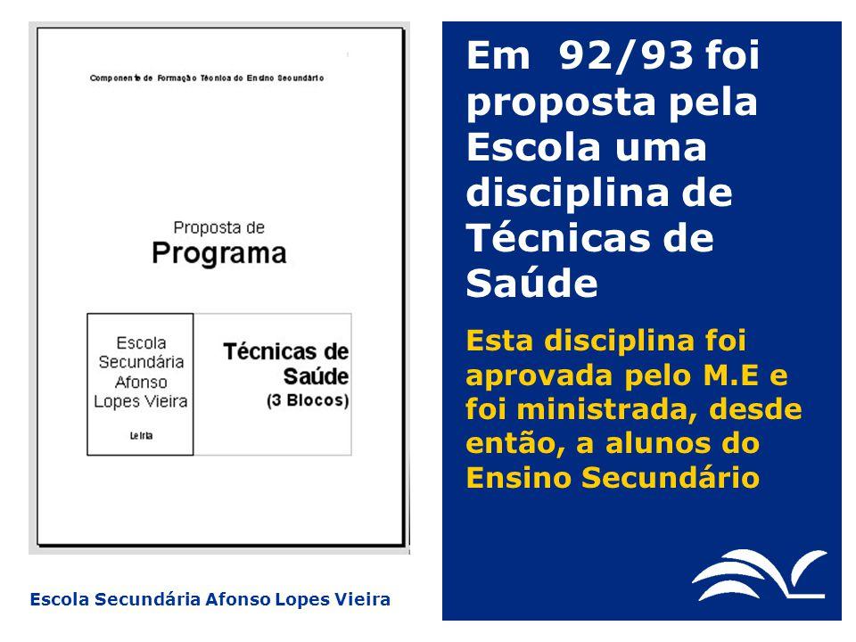 Escola Secundária Afonso Lopes Vieira Em 96/97, alunos de Técnicas de Saúde formados pela P.