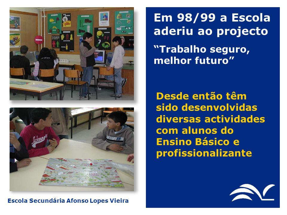 Escola Secundária Afonso Lopes Vieira Em 98/99 a Escola aderiu ao projecto Trabalho seguro, melhor futuro Desde então têm sido desenvolvidas diversas