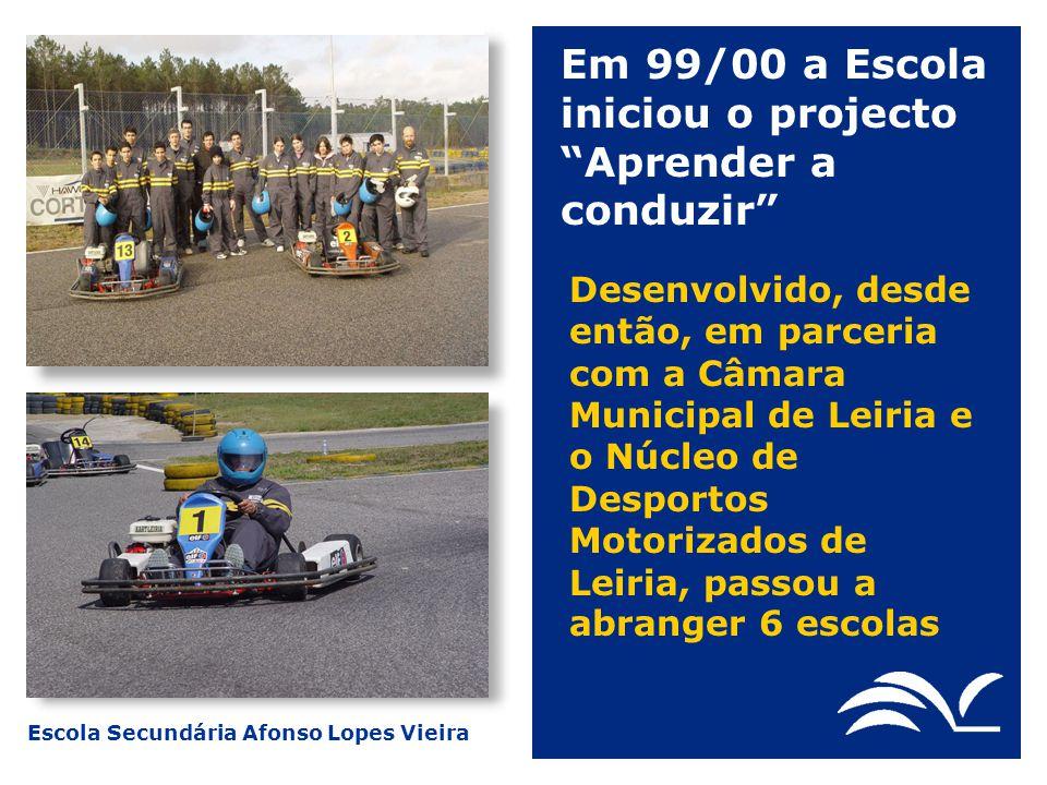 Escola Secundária Afonso Lopes Vieira Este projecto visa o desenvolvimento de competências de condução defensiva e desportiva, recorrendo ao kart e à pista como instrumentos de formação, complementadas com formação teórica sobre segurança rodoviária