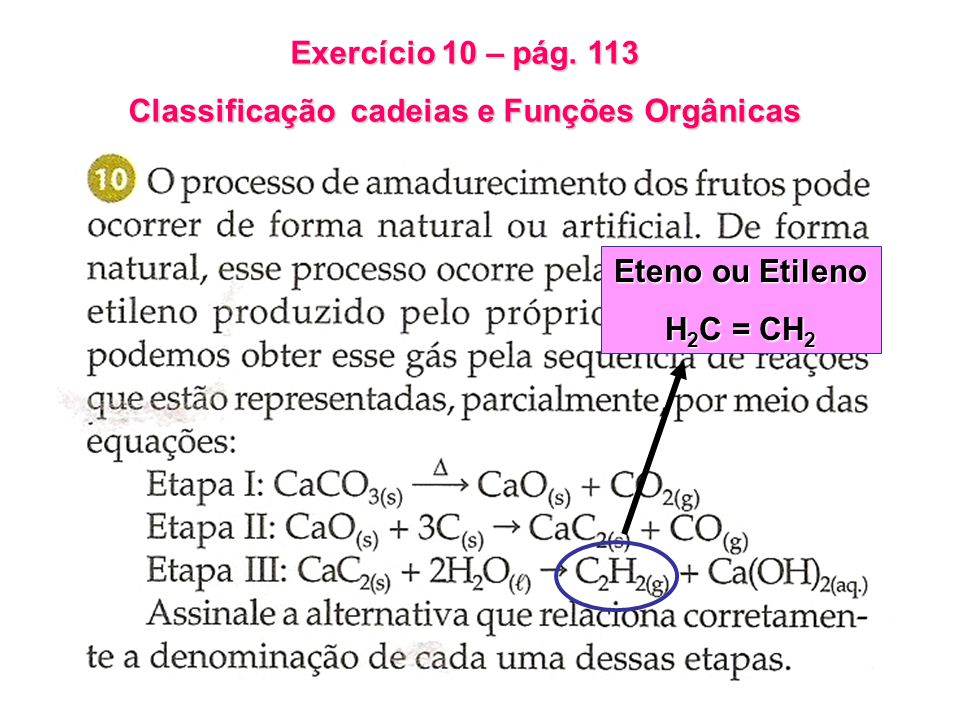 Exercício 10 – pág. 113 Classificação cadeias e Funções Orgânicas Eteno ou Etileno H 2 C = CH 2