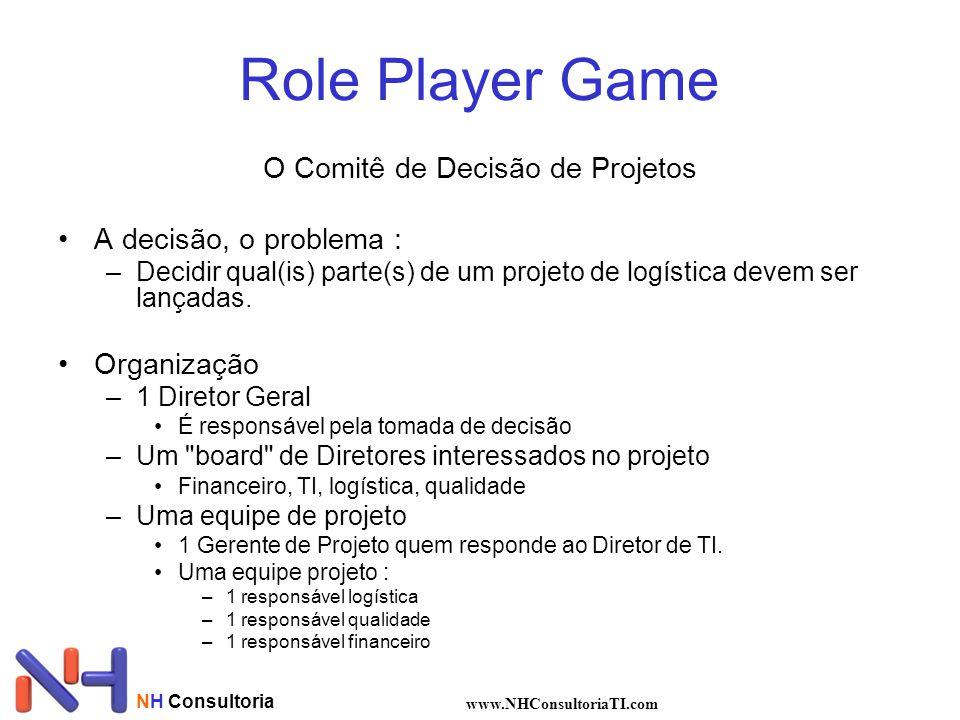 Role Player Game O Comitê de Decisão de Projetos A decisão, o problema : –Decidir qual(is) parte(s) de um projeto de logística devem ser lançadas.