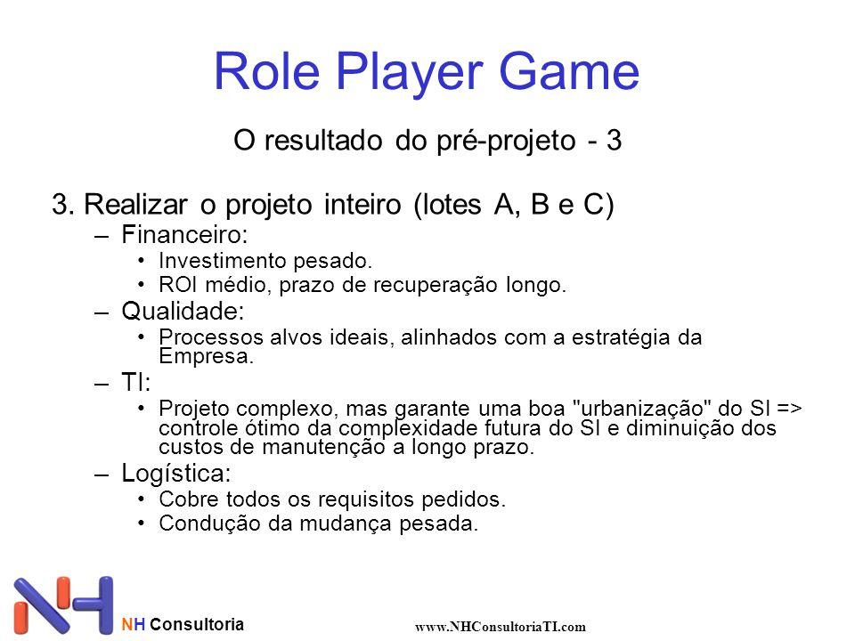 Role Player Game O resultado do pré-projeto - 3 3.Realizar o projeto inteiro (lotes A, B e C) –Financeiro: Investimento pesado.