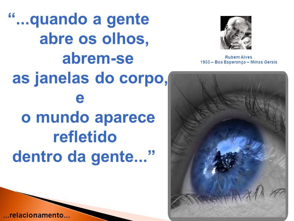 10...quando a gente abre os olhos, abrem-se as janelas do corpo, e o mundo aparece refletido dentro da gente... Rubem Alves 1933 – Boa Esperança – Min