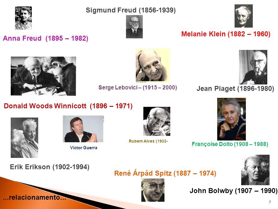7 Melanie Klein (1882 – 1960) Anna Freud (1895 – 1982) Sigmund Freud (1856-1939) Jean Piaget (1896-1980) Donald Woods Winnicott (1896 – 1971) Erik Eri