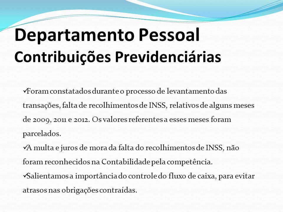 Departamento Pessoal Contribuições Previdenciárias Foram constatados durante o processo de levantamento das transações, falta de recolhimentos de INSS