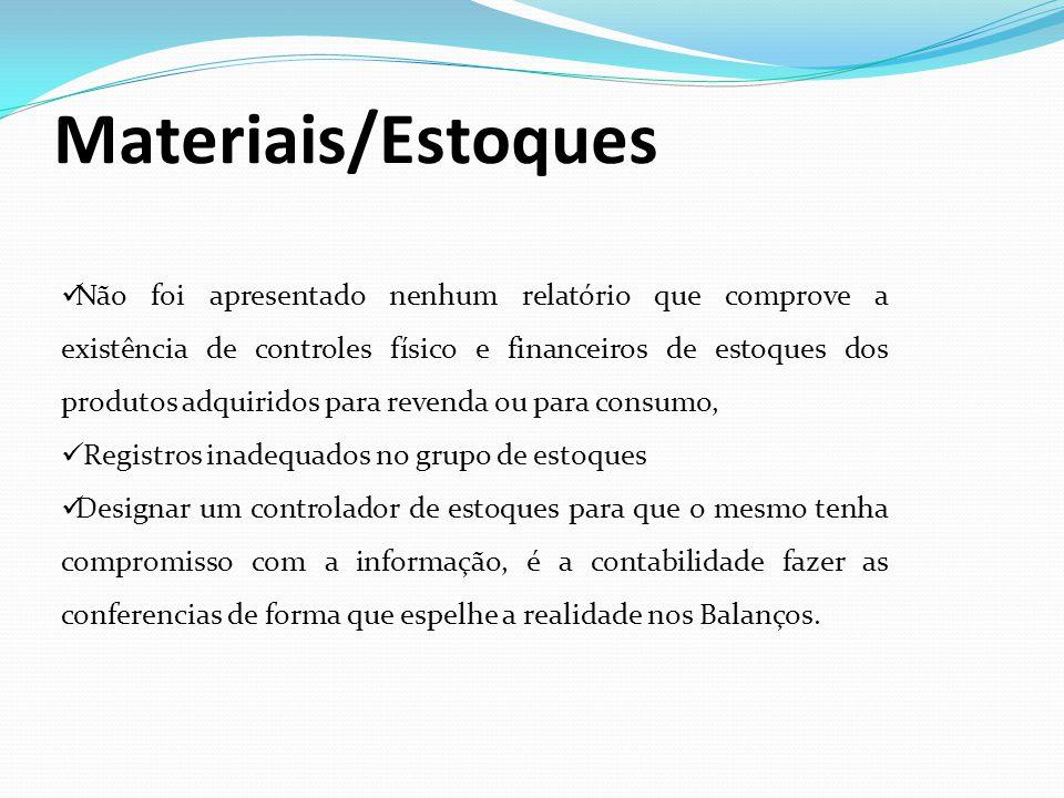 Materiais/Estoques Não foi apresentado nenhum relatório que comprove a existência de controles físico e financeiros de estoques dos produtos adquirido