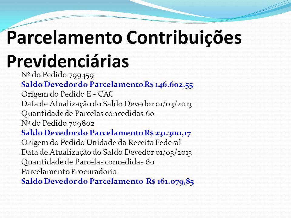 Parcelamento Contribuições Previdenciárias Nº do Pedido 799459 Saldo Devedor do Parcelamento R$ 146.602,55 Origem do Pedido E - CAC Data de Atualizaçã