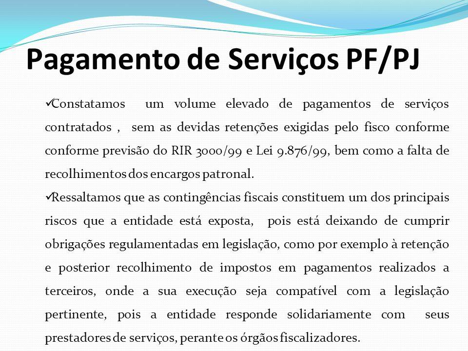 Pagamento de Serviços PF/PJ Constatamos um volume elevado de pagamentos de serviços contratados, sem as devidas retenções exigidas pelo fisco conforme