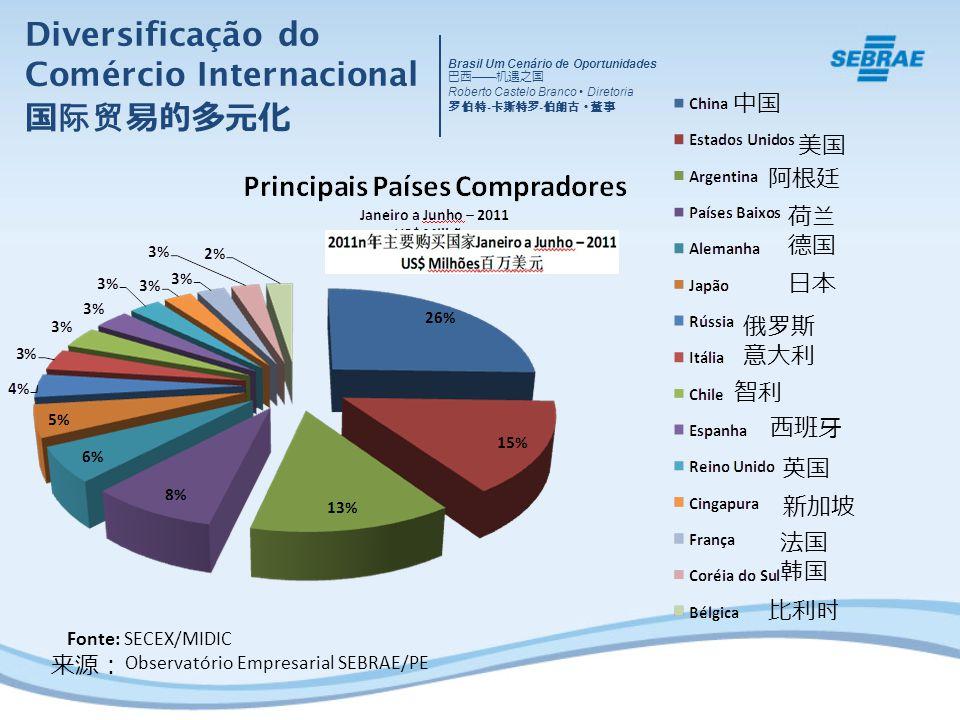 Fonte: SECEX/MIDIC Observatório Empresarial SEBRAE/PE Diversificação do Comércio Internacional Brasil Um Cenário de Oportunidades Roberto Castelo Bran