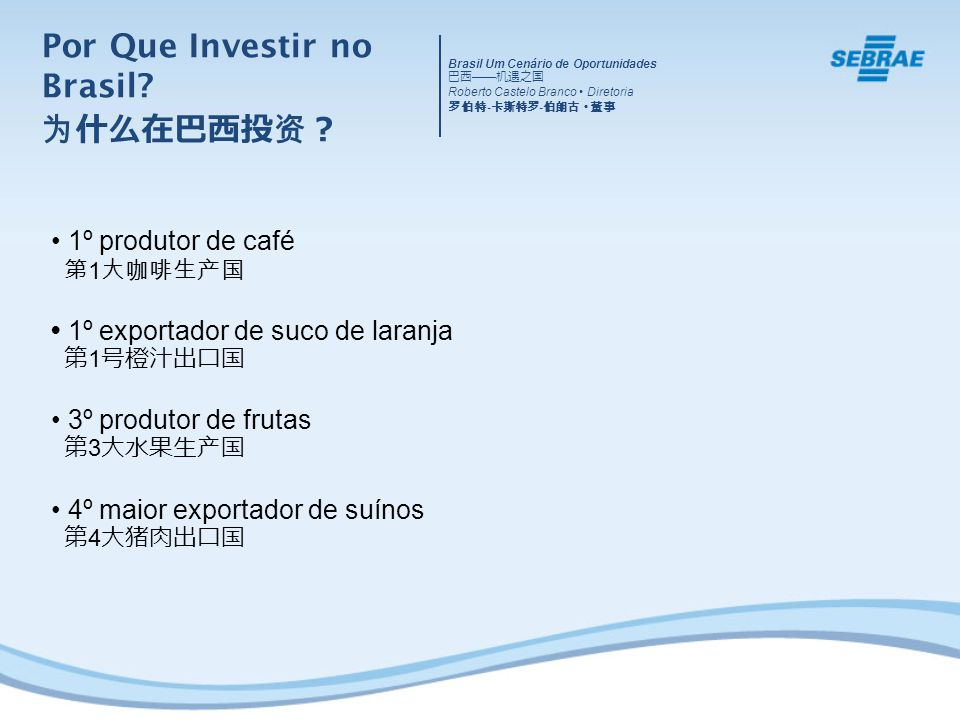 Brasil Um Cenário de Oportunidades Roberto Castelo Branco Diretoria - - 1º produtor de café 1 1º exportador de suco de laranja 1 3º produtor de frutas 3 4º maior exportador de suínos 4 Por Que Investir no Brasil?