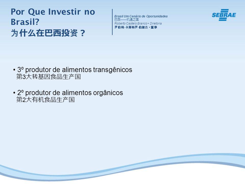 3º produtor de alimentos transgênicos 3 2º produtor de alimentos orgânicos 2 Brasil Um Cenário de Oportunidades Roberto Castelo Branco Diretoria - - Por Que Investir no Brasil?