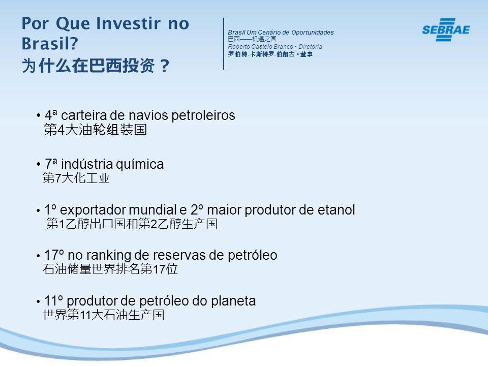 4ª carteira de navios petroleiros 4 7ª indústria química 7 1º exportador mundial e 2º maior produtor de etanol 1 2 17º no ranking de reservas de petróleo 17 11º produtor de petróleo do planeta 11 Brasil Um Cenário de Oportunidades Roberto Castelo Branco Diretoria - - Por Que Investir no Brasil?