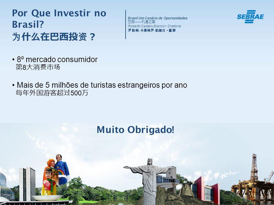 8º mercado consumidor 8 Mais de 5 milhões de turistas estrangeiros por ano 500 Muito Obrigado! Por Que Investir no Brasil? Brasil Um Cenário de Oportu