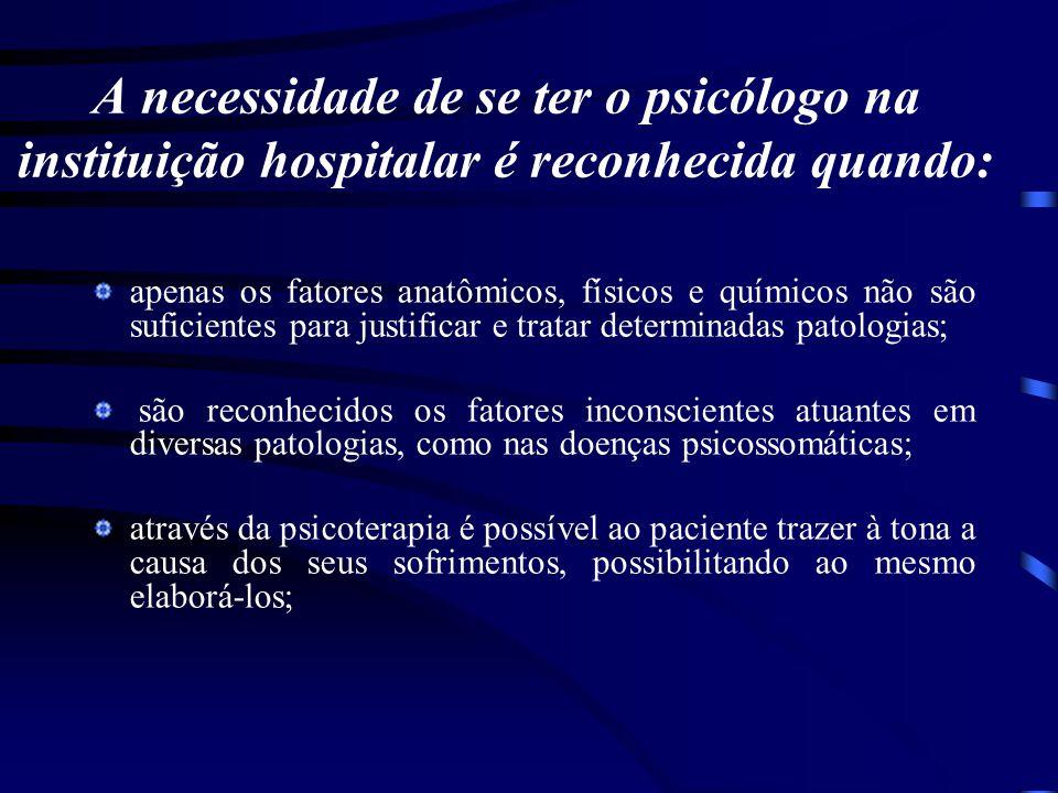 A necessidade de se ter o psicólogo na instituição hospitalar é reconhecida quando: apenas os fatores anatômicos, físicos e químicos não são suficient